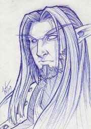 Pen Sketch Night Elf by Wes Talbott