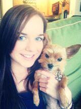 Teenage Abigail Mavity with a Dog