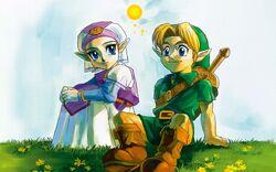Artwork Zelda y Link OoT