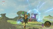Link et Gardien Rouillé attaquant BOTW