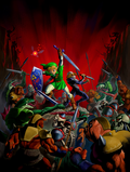 Artwork Link y Sheik luchando hordas Ganondorf OoT