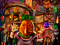 Festejación con Máscaras de los Cuatro Gigantes