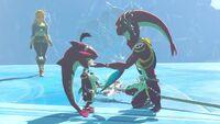 Mipha y Sidon siendo visitados por Zelda BotW