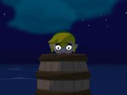 Link en Barril catapulta