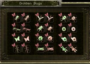 Inventario de los insectos dorados