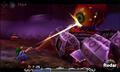 Link atacando a Goht en su punto débil en MM 3D
