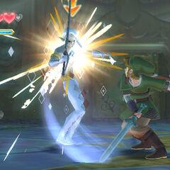 Ghiraim para un attacco con la spada