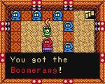 Link consiguiendo el bumerán en el Salón de Baile OoS