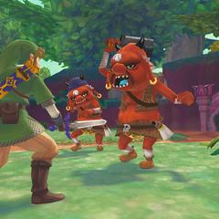 Link combatte contro i Boblin rossi e una Deku Baba