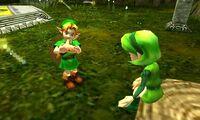 Link aprende Canción de Saria OoT