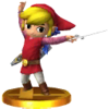 Link Cartoon Tunique Rouge Baguette du Vent Trophée SSB4 3DS