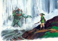 Artwork Link y el rey Zora ALttP