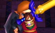 Link enseñando la Trifuerza del Valor ALBW