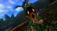 Link transformándose en Link Deku en MM 3D