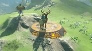 Link montado en un ciervo con Nyel a su lado BotW