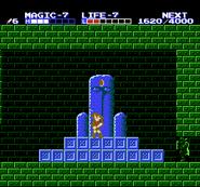 Link colocando el cristal en la estatua del Palacio del Océano TAoL