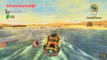 Link navegando en el Mar de arena