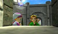 Zelda y Link ventana patio OoT