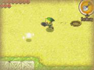 Link jugando al minijuego del Islote del Hoyo PH