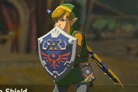 Link con el Escudo Hyliano BotW