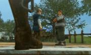 Hyrule Warriors Legends Linkle's Tale Villagers standing outside Linkle's House (Cutscene)