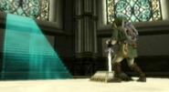 Link clavando Espada Maestra Pedestal Tiempo TP