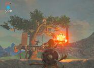 Flecha de fuego quemando Bokoblin BotW