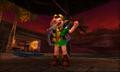 Link recogiendo un pez de una caña en MM 3D