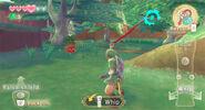 Link apunto de atacar a un octorok