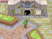 Link delante da la tienda de Hyrule