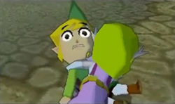 Zelda abraza a Link ST
