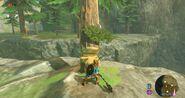 Hoja Kolog cayendo de un árbol talado hacha BotW