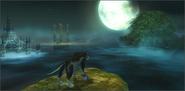 Link lobo aullando junto con el espiritu del heroe