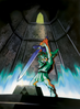 Link enfant qui retire Excalibur de son socle dans Ocarina of Time