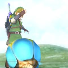 Link mentre usa una bomba
