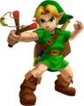 Ocarina of Time 3D Artwork Young Link wielding the Fairy Slingshot (Official Artwork)