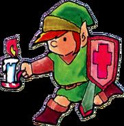Link usando el Candil Rojo artwork TLoZ