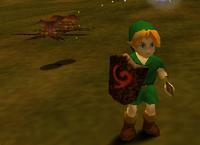 Larva Peahat junto a Link