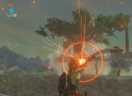 Link cargando flecha de fuego BotW