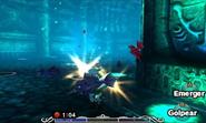Link Zora peleando bajo el agua en MM 3D
