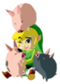 Link and Pigs Sticker