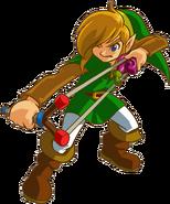 Link lanzando una Semilla Misteriosa con el tirachinas Oracles