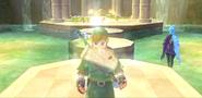 Skyward Sword - Link obteniendo la Litografía del orbe rojo
