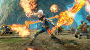 Hyrule Warriors Naginata Impa wielding her Guardian Naginata's made of fire (Level 1 Naginata)