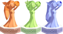 The Wind Waker Golden Goddess Statues Din, Farore, & Naryu (Render)