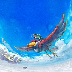 Link vola sul suo Solcanubi, con Oltrenuvola in secondo piano