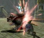 Link atacando a un Helmasaurio TP