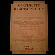 Certificado de autentificación del set de aventura The Legend of Zelda Majora's Mask