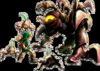 Artwork de la batalla de Link vs. Queen Gohma
