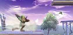 Link usando el Bumerán Tornado en Super Smash Bros. Brawl